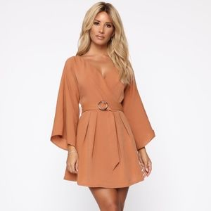 Caramel Coloured Fashion Nova Wrap Dress